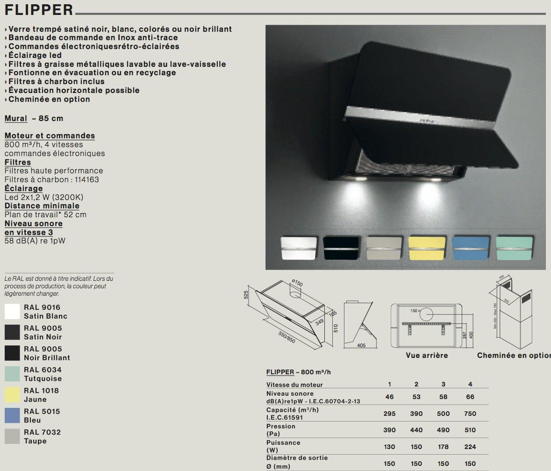 hotte d corative murale falmec noire cmc. Black Bedroom Furniture Sets. Home Design Ideas