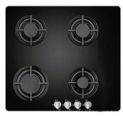 Table de cuisson 4 gaz verre noir