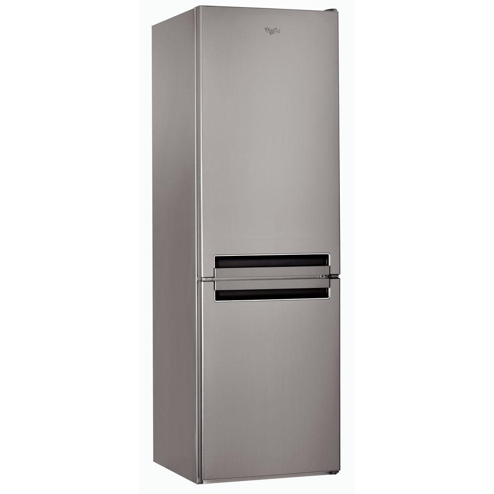 Réfrigérateur Congélateur en bas Whirlpool inox brossé poignées intégrées